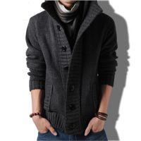 2015男式针织毛衣开衫 纯色立领长袖宽松口袋男式开衫毛衣批发