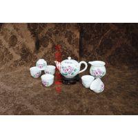 白瓷茶具定做 手绘青花高白瓷茶具