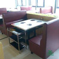 现代中式酒店餐厅大理石火锅桌定制批发 特色主题餐馆电磁炉火锅桌 运达来