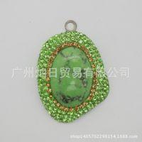 绿松石镶钻吊坠 饰品高档时尚吊饰 项链配饰厂家直销