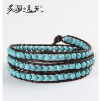 多丽觅芳 纯手工编织缠绕 新款流行时尚4圈 天然绿松石手链