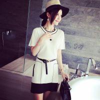 小银子2015夏装新款气质名媛超舒适冰丝撞色简约连衣裙HD