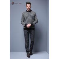 优润时装春秋冬合身长袖圆领半拉链牦牛绒男士针织打底衫