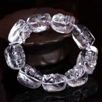 大颗粒天然白水晶十八罗汉手链 霸气男款18罗汉手串 可做车挂