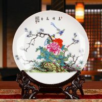 厂家直销景德镇陶瓷器 彩绘花鸟图案挂盘 家居装饰中式古典摆件