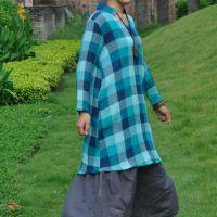 例外风格 2014秋季文艺布衣风格棋盘格亚麻中长款套头女衫文艺范