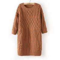 批发 新款女装韩国东大门针织衫中长款打底衫复古菱形麻花毛衣