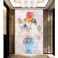 3D5D立体玄关壁画欧式珠宝花朵客厅走廊过道背景墙纸墙布无缝瓷砖背景墙