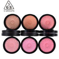 彩妆正品3GS 花漾腮红粉质细腻妆容薄贴自然胭脂 配腮红刷 微珠光