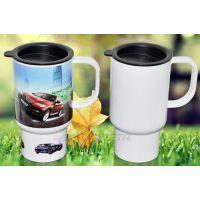 耐高温塑料热转印汽车杯 14OZ空白汽车杯 带手柄盖子汽车杯定制