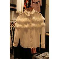 韩国东大门款2015春装打底衫女 多色雪纺韩版翻领系扣女士小衫