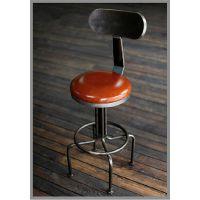 升降旋转 靠背坐垫皮铁艺椅子 高腿板 酒吧椅 办公简约