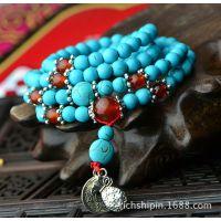 云南民族风饰品厂家批发西藏绿松石藏银108颗佛珠念珠手链SL203