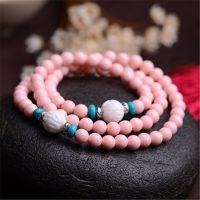天然粉珊瑚贝手链 多圈 砗磲莲花 绿松石 时尚甜美手链厂家批发