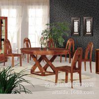 小额混批 全实木 榆木餐桌 圆桌 桌椅组合 餐厅家具 木质家具原木