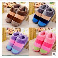 冬季新款全包跟保暖棉鞋 彩色条纹情侣居家室内厚底情侣棉拖鞋
