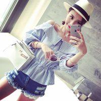 小银子2015夏装新款时尚洋气竖纹显瘦吊带露肩娃娃衫上衣T5192