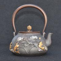 日本龙秀堂铸铁茶具批发定制寿山堂年年有鱼鎏金无涂层铁壶