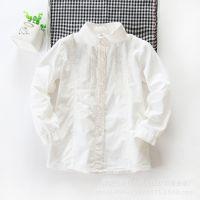 外贸童装 女童 韩版可爱纯色全棉儿童衬衫 百搭长袖打底衫 春款