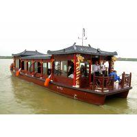 14米餐饮画舫游船 传统电动画舫木船 木质观光旅游船 款式可定制