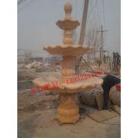 石雕晚霞红喷泉大理石欧式喷泉小区庭院景观流水摆件喷水池可定做