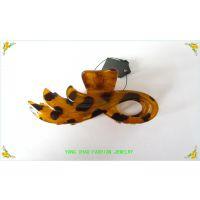 琥珀色豹纹抓夹批发 时尚精致塑料凤尾造型发爪 外贸出口发夹定做