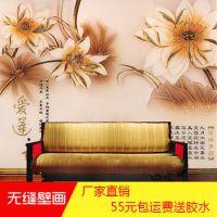 大型无缝壁画 3d立体电视背景墙壁纸 中式客厅无纺布墙布厂家批发
