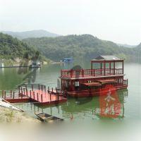 楚风木业供应木质房船画舫船仿古木船电动观光船餐厅客船