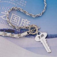 白色皮绳JHICYCOUTURF圆环钥匙项链韩国明星饰品批发1932-1-30