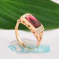 AA6201  韩版水晶戒指镂空经边镶水钻简约方形红水晶宝石首饰批发