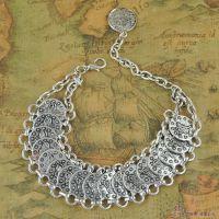 B1331印巴民族复古钱币手链 异域特色古银手饰 欧美手链批发 现货
