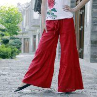 批发民族服饰中式亚麻民族风甜美拼接纯色喇叭秋款系带长裤 3色