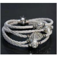 欧美时尚编织皮绳手链/不锈钢扣皮绳手环 手链饰品批发 现货