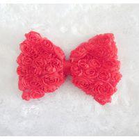 宝宝发饰 新款欧美六排雪纺立体玫瑰蝴蝶结配件 流行发饰批发