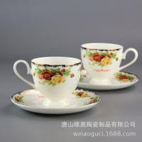 厂家直销陶瓷咖啡杯碟 骨瓷铂金玫瑰咖啡杯碟 批发礼品杯定制logo
