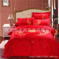 供应床上用品全棉婚庆床品七件套厂家批发龙凤呈祥正品印花床品可订做