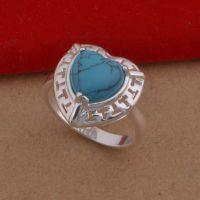 925镀银饰品  韩版戒指 新款心形绿松石戒指  外贸首饰现货批发