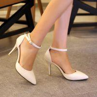 白色真皮女鞋 性感尖头细跟黑色高跟包头女凉鞋RS-S10