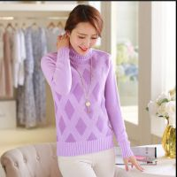 秋冬新款 韩版女装修身高领针织打底衫 加厚套头毛衣女
