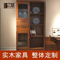 柚之林 新中式进口黄金柚木客厅柜 电视边柜 中式酒柜尺寸定做