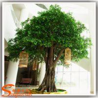 广州松涛仿真榕树 室内装饰仿真植物盆景 仿真树绿色榕树