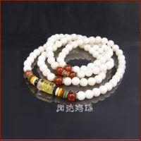 白砗磲108粒佛珠手串 红玛瑙界珠 藏银、树脂水晶六字真言转运珠