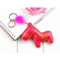 韩版马年新款PU皮革 创意毛球木马小马钥匙扣圈情侣配饰 包包挂件