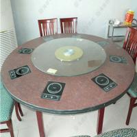 厂价定做 古典风格餐桌子 钳入式火锅圆桌 酒店专用火锅餐台