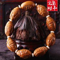 橄榄核雕刻荣如财神手串 橄榄核手串 橄榄胡精雕手链 男