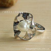 925纯银珍珠戒指 饰品加工 番禺正东珠宝首饰厂 高仿真钻石首饰