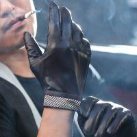 新款羊皮真皮手套冬天冬季加厚加绒保暖男士骑车分指手套批发厂家