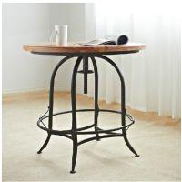 美式家具出口欧式后工业设计做旧铁艺实木桌面餐桌子咖啡桌圆桌