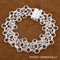 现货批发速卖通热销925银饰欧美流行时尚精美网梯手链H013