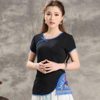 原创民族风2015夏季优美气质打底衫中国风精致刺绣大码女式T恤短